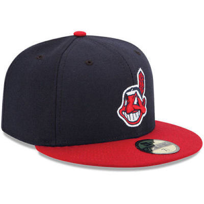 CLEVELAND INDIANS HOME New Era 5950 Navy MLB Cap Fitted On Field Game Hat 9896ede0fc53