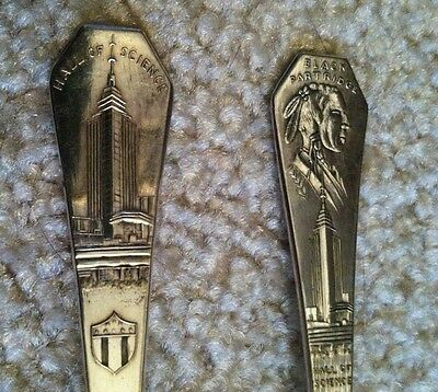 """2 Souviner Spoons Silver Plated1933 Century of Progress Chicago World's Fair 6"""""""