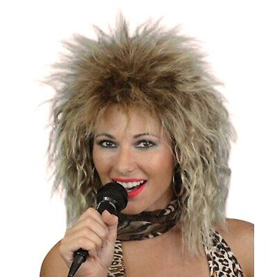 Tina Turner Wig Bleached Blonde Shaggy Layered 80s Diva Music Star