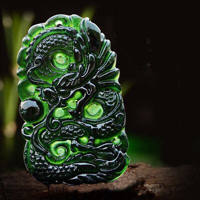 Hand-Carved China Natural Dark Green Jade Dragon Pendant Nice Natural Gemstones