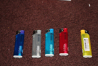 Leiga Refillable Butane Lighter Assorted Colors With LED Light - Pack of 5
