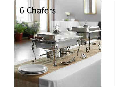 (6-Pack) NEW Choice Classic Rectangle 8 Qt. Full Size Stainless Steel Chafers