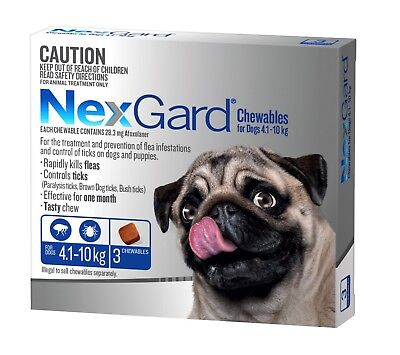 Nexgard Chewables for Dogs 4.1 - 10kgs BLUE Flea & Tick ALL SIZES