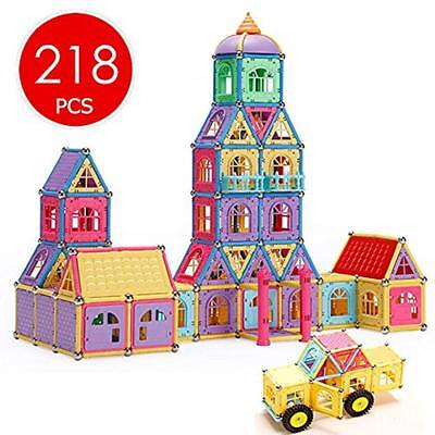 Magnetic Stacking Blocks Blocks, 218 PCS Building Tiles Educational Toy Set With