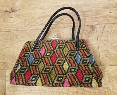 Vintage Groovy 1960's 1970's Hippie Carpet Bag Hand Purse Embroidered Geometric
