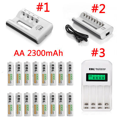 EBL 2300mAh AA Rechargeable Batteries  + Charger For AA AAA Ni-MH/Cd Battery USA