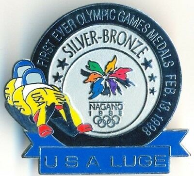 1998 Nagano Olympic USA FIRST EVER LUGE MEDALS (SILVER & BRONZE) L.E. Pin
