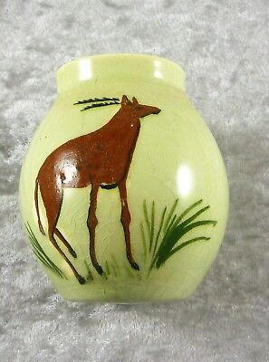 Fabulous Vintage Martin Boyd Australian Pottery Vase Depicting A Stag Deer 1950'