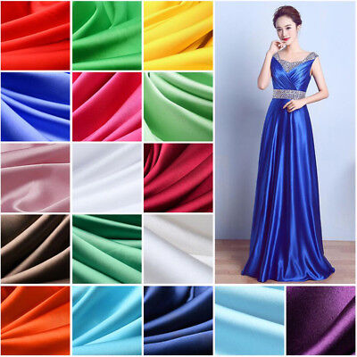 Glossy Solid Imitated Silk Satin Fabric Dense Charmeuse Bridal for Dress By Yard