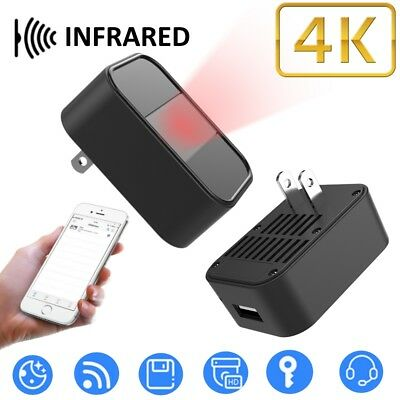 4K HD Hidden SPY Cam Wall Charger WiFi Infrared Remote Recorder Motion Camera