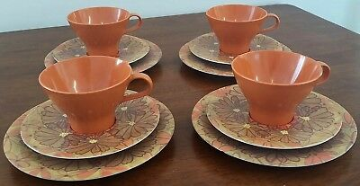 Vintage NYLEX BESSEMER Australia ORANGE 4 Person Set PICNIC CUPS PLATES SAUCERS