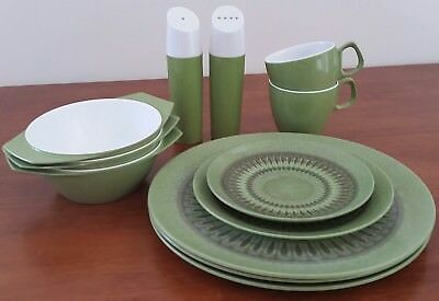 Vintage HOLLYWOOD TAMCO Australia GREEN 12 x PICNIC Cup Plate Bowl Salt Pepper