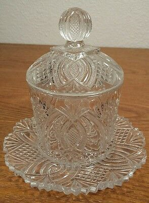 Vintage Ornate Pattern Glass Jam/Mayonnaise Jar With Attached Saucer & Lid