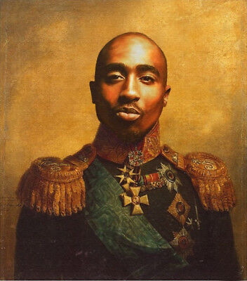 100% Hand Painted Portrait Oil Painting on Canvas/USA Tupac 24X32inch - Unframed