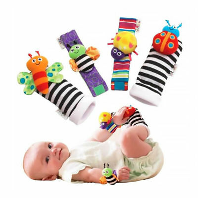 4pcs Baby Infant Animal Wrist Wrist Rattles and Foot Finder Socks Set