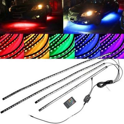 4Pcs 60/90cm Under Car Tube LED Underglow Underbody System Neon Strip Light Kit