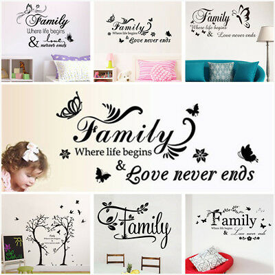 Family Letter Quote Removable Vinyl Decal Art Mural DIY Home Decor Wall Stickers