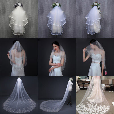 3M Extra Long Cathedral Applique Edge Lace Bridal Wedding Veil Short With Comb
