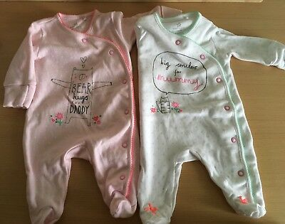 Next Baby Girl 2 Sleepsuits Mummy, Daddy First Size Worn Once