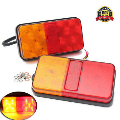 2x 12V 10 LED Rear Stop  Lights Tail Indicator Lamp For Trailer Truck Van Lorry