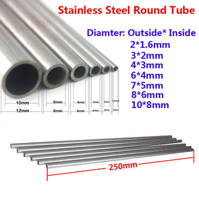 5Pcs Stainless Steel Capillary Round Tube Dia:3*2/4*3/6*4/7*5/8*6/10*8mm L:250mm