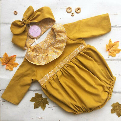 Newborn Baby Girl Floral Ruffle Romper Bodysuit Jumpsuit Headband Outfit Clothes