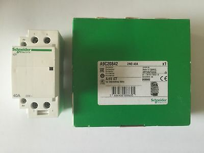 Schneider Din Mount 240V 40Amp Contactor 2 Normally Open 2No Acti9 Ict A9C20842