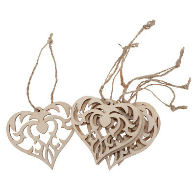 Blesiya 12pcs Christmas Wooden Love Heart Pendants with Jute Rope Ornaments
