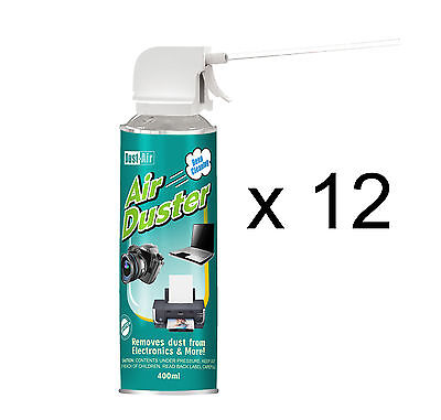 12 x 400ml Compressed Air Duster Cleaner Can Camera Extractor Fan