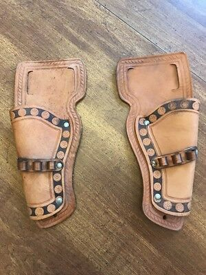 Vintage Leather Toy Gun Holsters Pair Never Used Bullet Holder