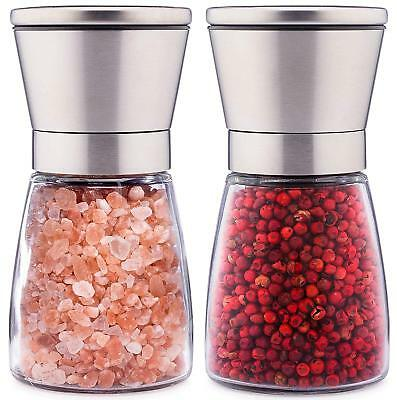 Stainless Steel Tall Salt and Pepper Grinder Set of 2 Premium Brushed Spice Mill