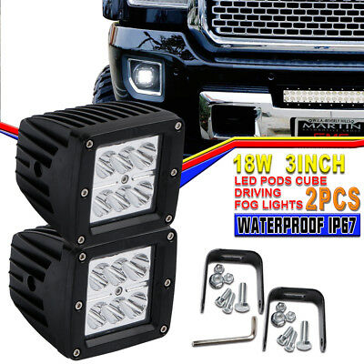 Pair 3Inch 18W Square Dual Row Pods Cube Light 6LED Spot For Rubicon Airboat UTV