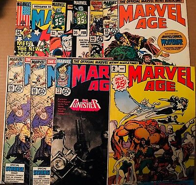 10 Marvel Age Comics (includes #2) G - VG; 9 Actual Pics; Ships Fast 1st Class