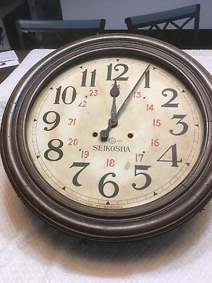 Vintage SEIKOSHA Wall Clock 1935 Showa era Old Seiko Japan Rare Wood 24 Hour
