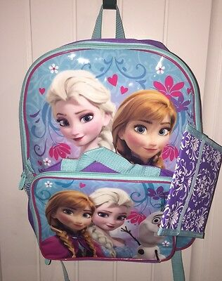 "Disney  Frozen Anna and Elsa Girls 16"" Large School Backpack and  Lunch bag set"