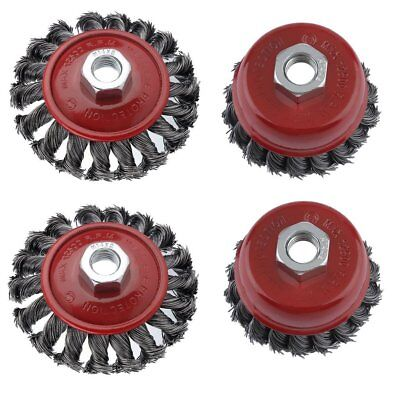 4 X  M14 Crew Twist Knot Wire Wheel Cup Brush Set For 115mm Angle Grinder UK