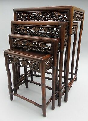 Antique Chinese Carved Hardwood Quartetto Tables