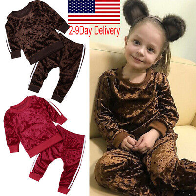 Fashion Toddler Kids Baby Girls Velvet Tops Sweatshirt Pants Outfits Clothes One