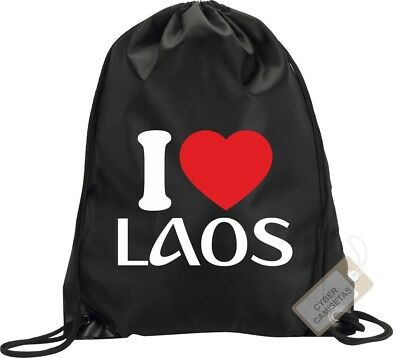 I Love Laos Mochila Bolsa Gimnasio Saco Backpack Bag Gym Laos Sport