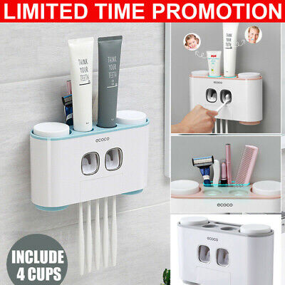 Handfree Toothbrush Holder Automatic Toothpaste Dispenser Set-5 Holder 4 Cup