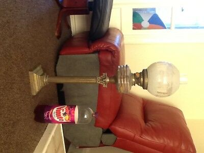 Antique Tall Corinthian Base Oil Lamp with Original Etched Shade,Sherwood.