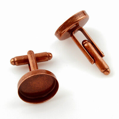17mm Aged Copper Cufflink Setting Blanks Fits 16mm Cabochon [20 pieces]