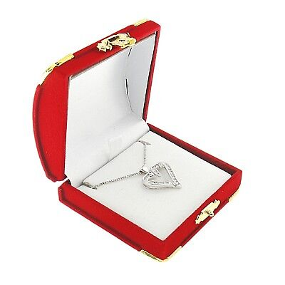 Red Velvet Earring Or Pendant Box Display Jewelry Gift Box Treasure Chest Velour