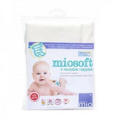 Reusable Nappy Bambino Mio Miosoft One Size 4 Pack 100% cotton Washable Cloth