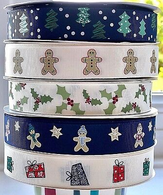 19mm Christmas Ribbons by Reel Chic in 5 Designs, 3 Metres Long - TO CLEAR