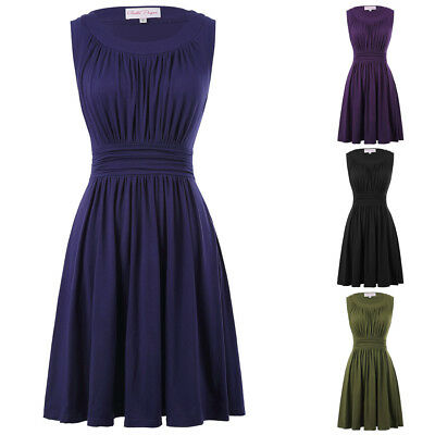 Vintage 50s 60s Cocktail Evening Party Dress Elegant Swing A-line Pleated Dress