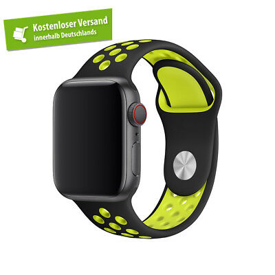 Nike Apple Watch 42mm / 44mm BLACK / VOLT (für ALLE Watch-Modelle, NUR Band)
