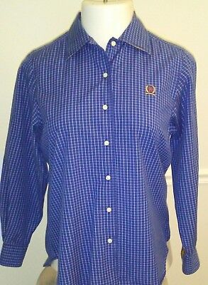 Tommy Hilfiger VTG Blue Checked Button-Front L/S Shirt - Ladies Size 4