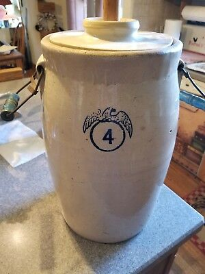 Antique 4 Gallon  Pottery Stoneware Crock. wood handles and Wood butter Churn