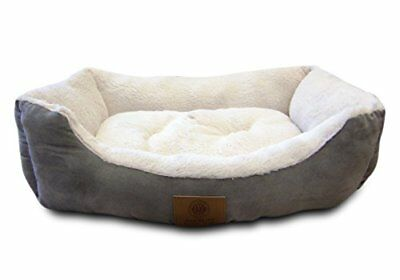 NEW American Kennel Club Suede Cuddler Solid Pet Bed, Large, Gray FREE2DAYSHIP